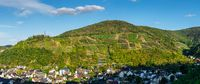 Aerial view of the Ahr valley on a sunny summer day on the red wine hiking trail