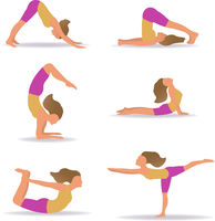 Set Of Slim Sportive Young Woman Doin Yoga