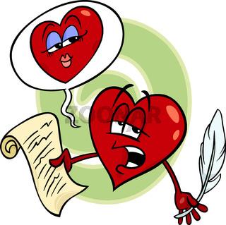 heart reading love poem cartoon