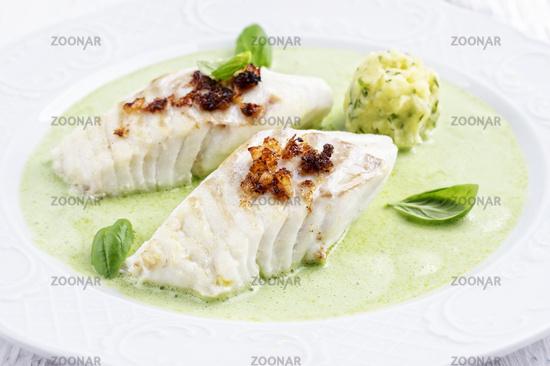 Cod filet in Basil Champagne Foam