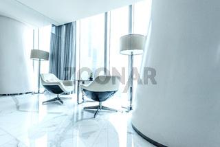 futuristic interior decoration in white color match