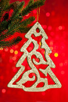 branch of Christmas tree with decoration