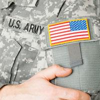 USA flag shoulder patch on solder's uniform