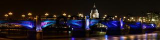 Panorama of the southwark bridge at night