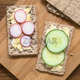 Wholemeal Rye Crispbread with Brie, Radish and Cucumber