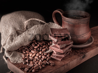 Cup of hot coffee with chocolate.