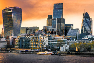 Buildings of City of London on River Thames , London, United Kingdom