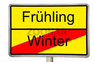 Winter geht Frühling kommt Straßenschild