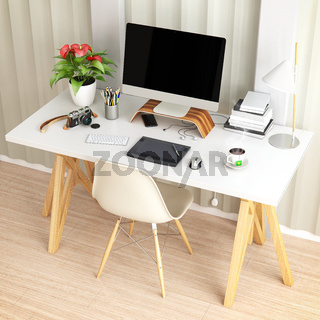 Creative desktop computer with drawing tablet on a desk in office