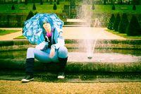 Frau, Springbrunnen, Cosplay, Park