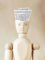 Much various information into the human head. Abstract image with wooden puppet