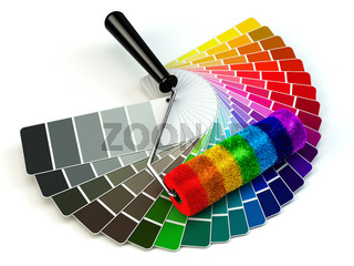 Roller brush and color guide palette in rainbow colors.