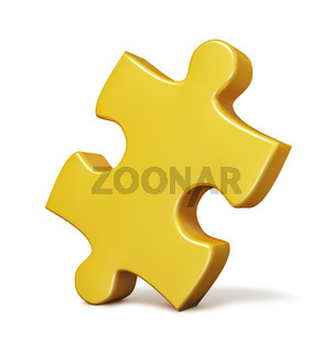 Single yellow puzzle piece isolated