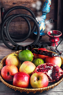 Fruit platter and hookah