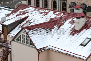 red tiled roof in winter time