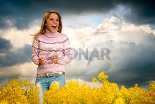Girl is pleasantly surprised