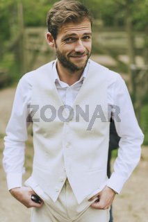 Garden Wedding groom smiling