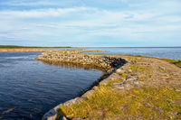 Dam to the island Muksalma, Solovetsky archipelago, Russia