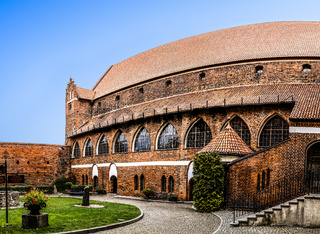 Ordensburg castle courtyard in Olsztyn, Poland