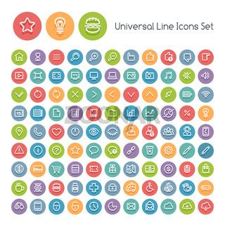 Set of Line Round Universal Icons