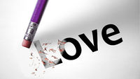 Eraser deleting the word Love