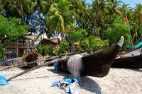 Fishing boats on the beach, Goa, India