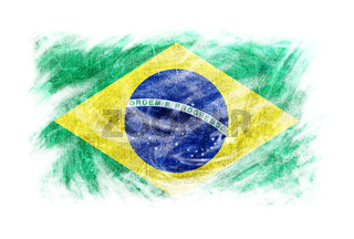 Brazil flag blackboard chalk erased isolated