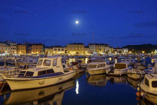 Full moon Rovinj at dusk, Croatia.