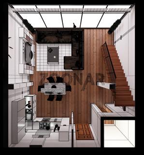 3D Interior rendering of a modern tiny loft