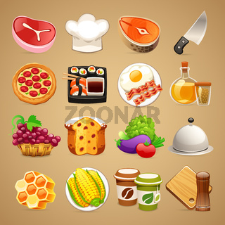 Food and Kitchen Accessories Icons Set1.1
