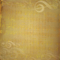 Grunge musical background with gold notes for design
