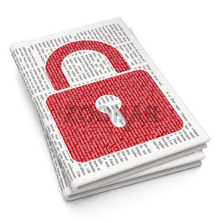 Information concept: Closed Padlock on Newspaper background
