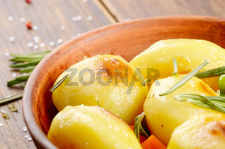 Boiled and baked potato and vegetables