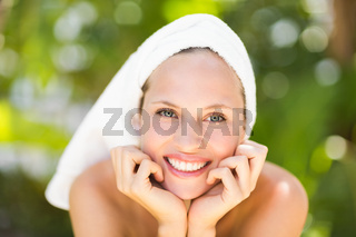 a woman preparing herself for spa day