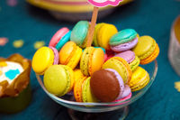 Colorful macaroons on the plate