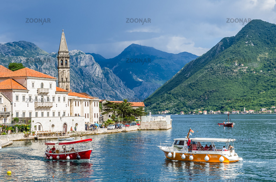 View on boats and Perast city
