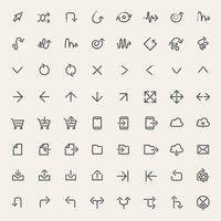 Stroke Arrow Icons Set Black