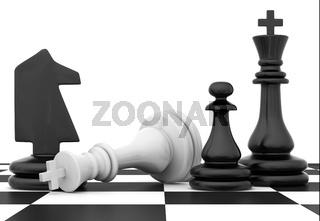 Chessmen stand on chessboard