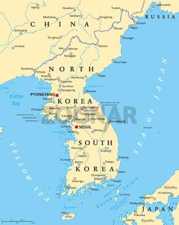 Koreanische Halbinsel politische Landkarte