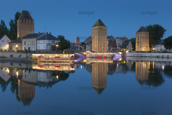 Covered bridge, in the petite france, Strasbourg, Bas-Rhin, Alsace, France.