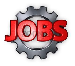 das wort jobs mit einem zahnrad - 3d illustration