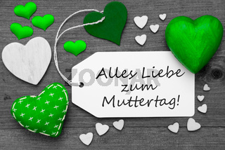 Black And White Label, Green Hearts, Muttertag Means Mothers Day