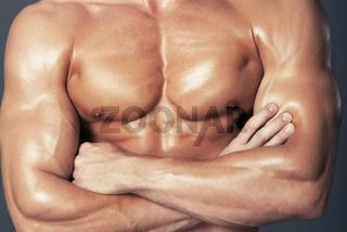 Body of muscular man