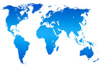 blue gradient world map, isolated