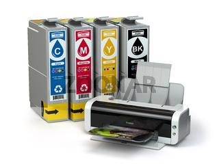 Inkjet CMYK cartridges and printer isolated on white