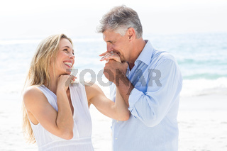 Happy couple laughing together