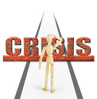 Crisis obstructs the way ahead for man. Abstract image with a wooden puppet