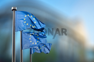 European Union flags against European Parliament