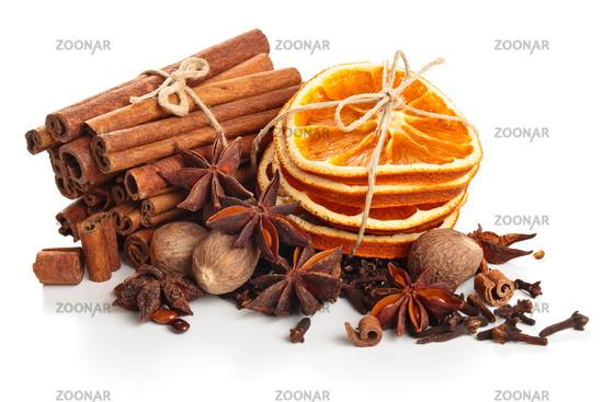 Dried Orange, Star Anise And Cinnamon Sticks  .