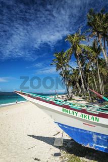fishing boat on puka beach tropical paradise boracay philippines